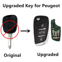 REMOTE KEY 2 BUTTONS For PEUGEOT 206 207 433MHz ID46 Chip Keyless Entry Fob CAR Controler