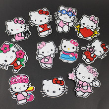 5pcs Hello Kitty Cute Cartoon Cat Embroidery Patch DIY Patches For Clothes Embroidered Clothing Garment Accessory Applique Badge