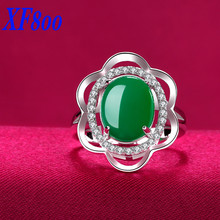 XF800 new brand  Adjustable 925 sterling silver ring ,Vintage green jade women rings  best anniversary gift  R07