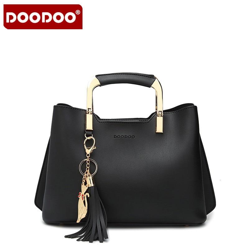 DOODOO Famous Designer Handbags 2017 New Street Popular Simple trendy womens tassel handbags Female Handbag Office Shoulder Bag<br>