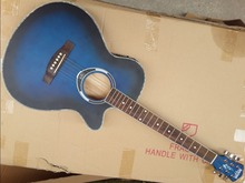 blue color 40inch thin body acoustic-electric guitar free shipping free string(China)