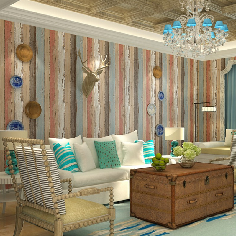 Beibehang wallpaper for walls 3d Retro nostalgic wood floor wood Wallpaper Restaurant Cafe TV backdrop waterproof 3d wallpaper <br>