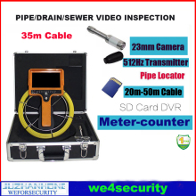 30m Cable Video Borescope Camera With 23mm 512hz Transmitter Pipe Locating Pipeline Drain Sewer Inspection Camera Meter Counter