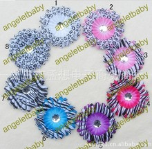 free shipping 4''Zebra & leopard & spottede Gerbera Daisy Flower with shine  stone Hair Clip Headwear corsage 8 colors 50pcs