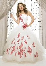 Vintage Red And White Ball Gown Colorful Wedding Dresses 2016 Vestidos De Novia Strapless Corset Non White Bridal Gowns Cheap