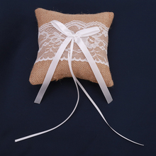 Lace Bow Ring Pillow Wedding Vintage Burlap Jute Rings Cushion for Wedding Decoration Jewelry Ring Findings EJ678703(China)