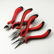 Carbon Steel Jewelry Plier Sets, Ferronickel, Round Nose, Side Cutting Pliers and Wire Cutters, Red, 110~130x45~80mm
