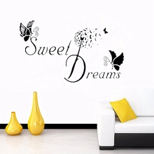 Best Gift Removable Sweet Dreams Butterfly Wall Stickers Art Vinyl Decals Mural Bedroom Kids Child Room Dormitory Decoration(China)