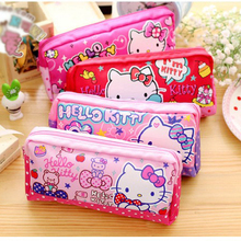 Cartoon Kawaii Hello Kitty Canvas Cosmetic Bag Girls Makeup Bag Kids Cute Children Pencil case Phone Bags cat Storage bag(China)