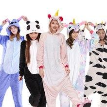 Хэллоуин осень и зима пижамы для девочек мультфильм пижамы для женщин  Рождество фланель животных стежка кигуруми Единорог pajams bf0a40386cb3c