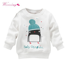 2017 Newborn Kid Cotton Sweater Penguin Print Baby Girl Pullover Long Sleeve Sweater(China)
