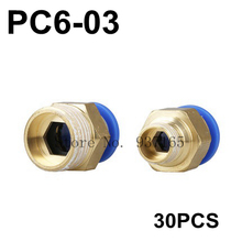 "30pc/lot PC6-03, Hose 6mm, Thread 3/8"" Brass Pneumatic fitting, Brass Fast Coupling Push in Quick Joint Connector"