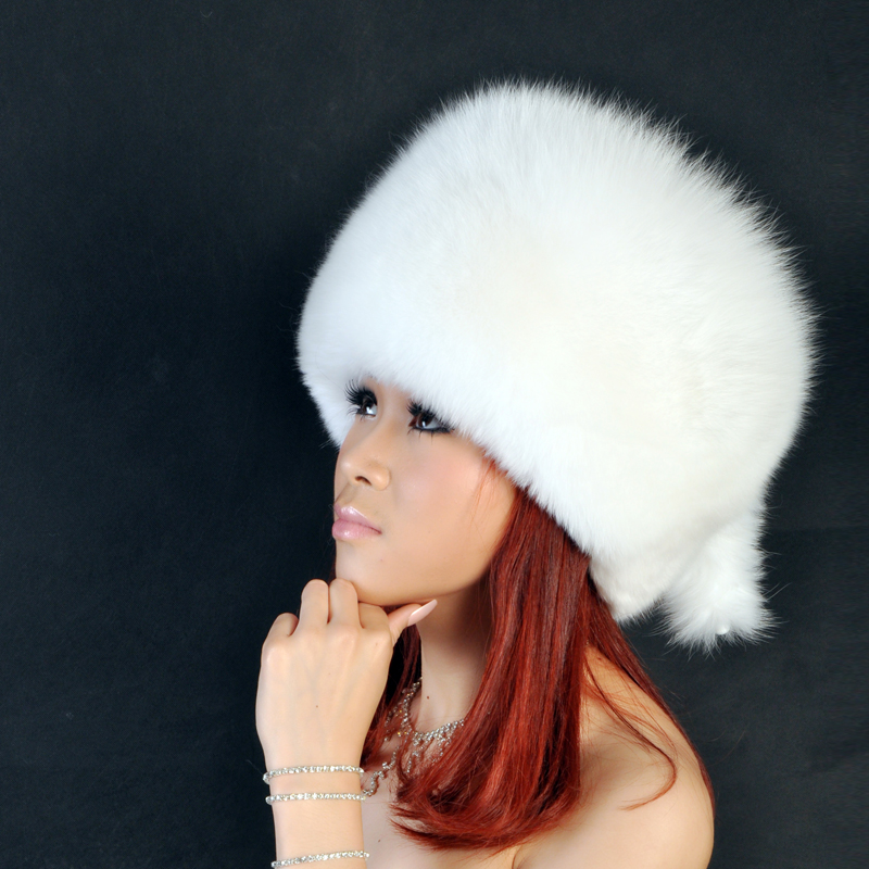 Autumn winter warm big round hat with two tassel,Black gray white 6 colors genuine fox fur hat H1145