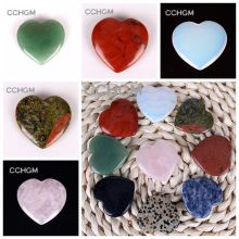 40mm Assorted rose Quartz Aventurine Fluorite opal Heart Shape pendants Lapis Crystal Chakra beads Natural Stone Healing Carved(China)