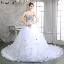 Buy 2018 Fashion High-end Luxury Princess Wedding Dresses White Strapless Lace Train Sexy Bridal Gowns Robe De Mariage 86115 for $306.00 in AliExpress store