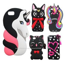 Cartoon Case For iPhone 5S Silicone 3D Lips Unicorn Cat Stitch Minnie Mouse Bottle Cactus Soft Phone Cover Cases For iPhone 5 5S