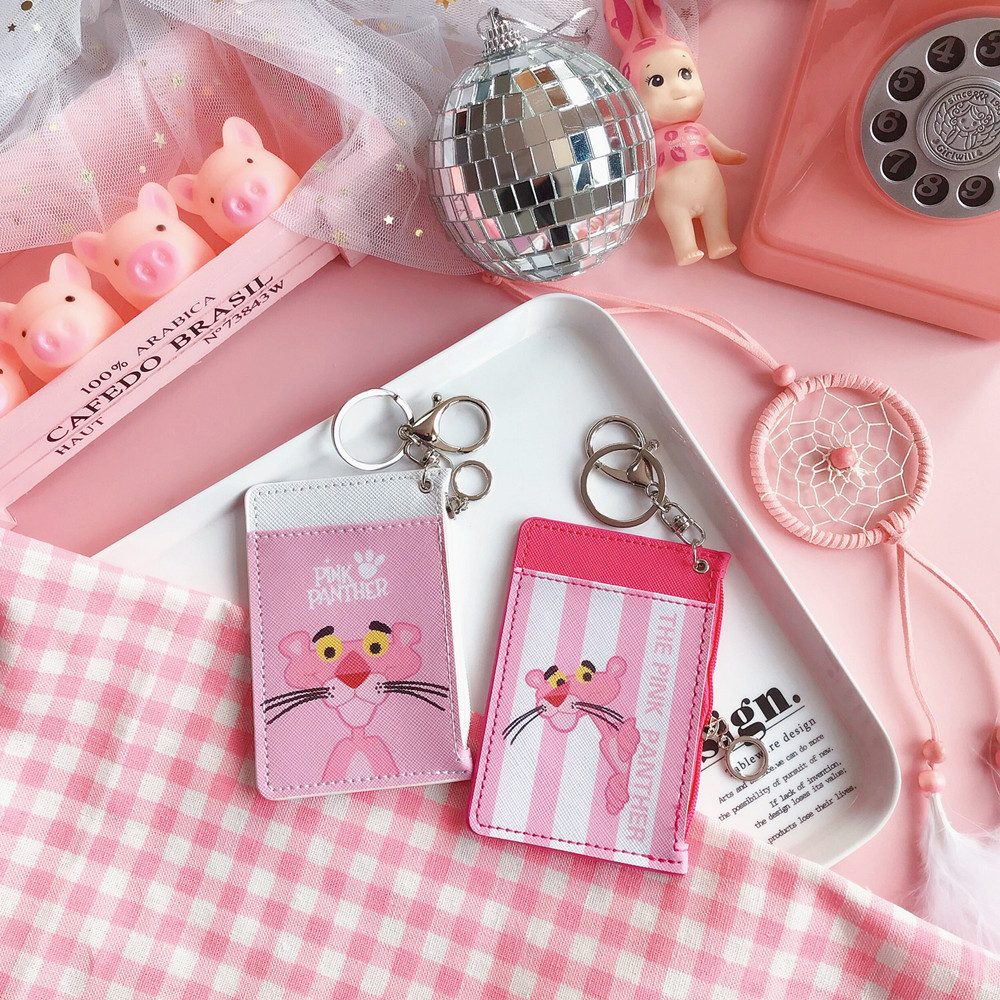 Cartoon Animal Keychain Pu Leather Keyring Id Card Cover Flamingo ...