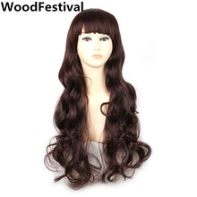 korean auburn brown long wavy black wig with bangs natural hair heat resistant synthetic wigs for women WoodFestival