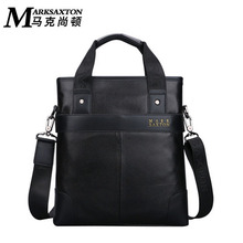 MARK SAXTON Men 's casual zipper handbag headband cowhide shoulder Messenger bag fashion leather business briefcase MK47023(China)