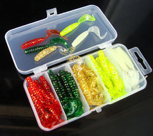 50 Pieces Soft Insect Silicone Fish Bait 5cm 5 Colors Curly Tail Soft Lure with Box High Quality Fishing Tackle