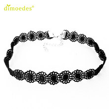 Necklaces Gussy Life wholesale Hot Selling Vintage Black Lace Sunflower Tattoo Gothic Necklace Choker Feb10(China)