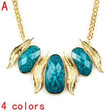 Bohemian style gold chunky leaf charm with big stones necklace for women jewelry NL-2072