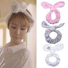Headwear Big Rabbit Ear Soft Towel Hair Band Wrap Headband For Bath Spa Make Up Women Girls(China)
