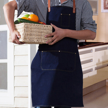 Hot Sale Aprons Denim Simple Antifouling Cowboy Uniform Unisex Aprons for Woman Men's Kitchen Chef Waiter Cooking pinafore