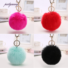 PF Pompom Keychain for Purse Fake Fur Keychains Furry Charm Trinket Rabbit Key Chains Pendant for Key Car Pompoms Jewelry YS049