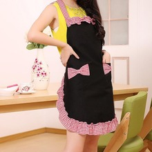 Korea Fashion Lovely princess Apron Black Rural style Cotton Pattern For Ladies Bowknots Grid Pattern Apron TB Sale