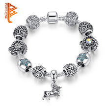 BELAWANG European 925 Tibetan Silver Animal Horse Charm Bracelet With Crystal Beads Bracelets&Bangles for Women Jewelry Pulseira