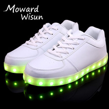 on Sale Luminous Glowing Sneakers with Light Sole Children Kids Led Shoes Up LED Slipper basket Boys Girls Lumineuse Shoes 33(China)