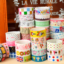 Hot Selling 10pcs/Pack Candy Color Rainbow Striped Dots Washi Tape DIY Decorative Tape Color Paper Adhesive Tapes V123