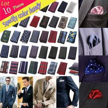 (10 pcs/lot) Factory Men's Polyester Silk Handkerchief Polka Dots Pocket Square Wedding Business Christmas Chest Towel Hanky