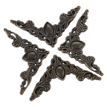 4Pc Furniture Fittings Antique Corner Bracket Jewelry Gift Box Wood Case Decorative Feet Leg Corner Protector Furniture Hardware