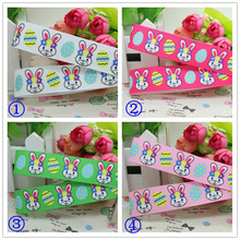 7/8'' Free shipping Easter rabbit you pick color printed grosgrain ribbon hairbow diy party decoration wholesale OEM 22mm P2057