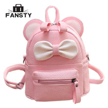 Mini Women Backpack Lady Cute Pu Leather School Backpack Fresh Bow Animal Pink Mouse Small Children Teenager Bag for Girls