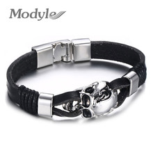 Modyle Men Genuine Leather Skull Bracelets Rock Punk Stainless steel Charms Cuff Bracelets Bangles(China)