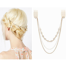 SHUANGR 2016 Fashion Hair Accesories Three Layer Chains Tassel Headband Small Flower Crystal & Pearl Hair Comb(China)