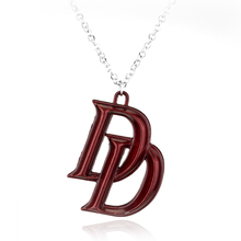 Movie Series Marvel Jewelry Comics Superhero Daredevil Double D Red Pendant necklace Latest Fashion Accessories KN-247
