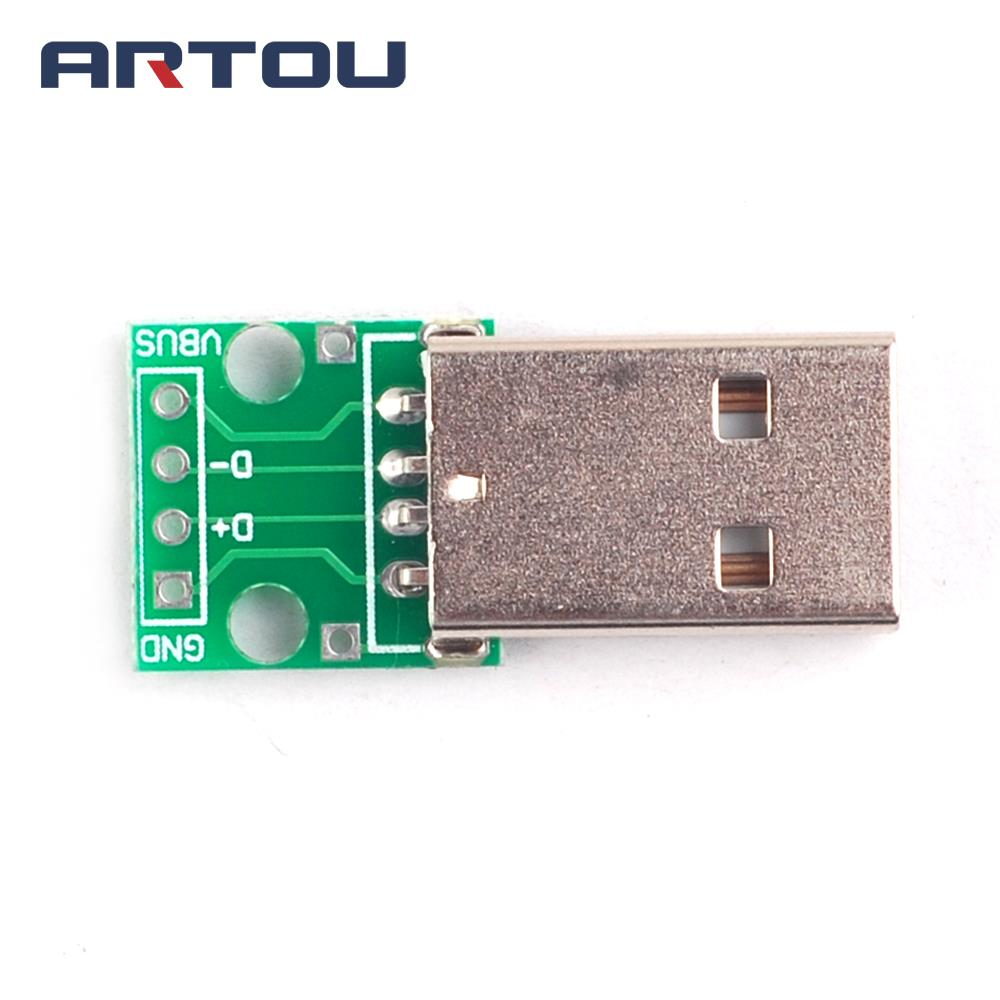 5PCS USB Male Connectors to DIP Adapter Plate Converter 4 Pin for 2.54mm PCB Board PCB Board