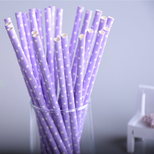 25pcs/lot Light Purple Dot Paper Drinking Straws Paper Straws Prom Kids Birthday Wedding Decoration Party Chevron Straws