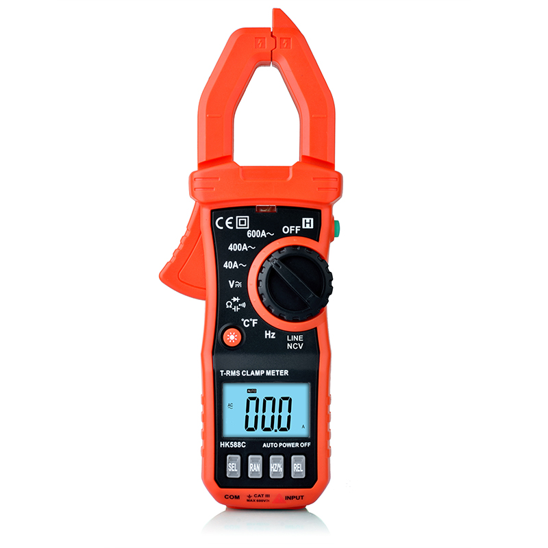 New Hot HK588D Digital Clamp Multimeter HONEYTEK Clamp Meter AC Current AC/DC Voltage Capacitor Resistance Diodes Tester<br>