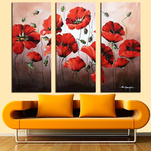 3 Canvas Panel Red Flower Pictures for Wall Decor Hand Painted Modern Abstract Flower Canvas Paintings Unframed Floral Paintings