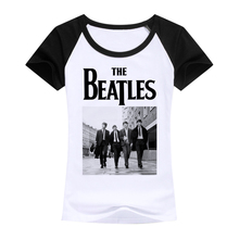 Fashion high quality ladies Clothes T-Shirts the beatles band image Designer raglan sleeve women cotton T Shirt white Tops Tees