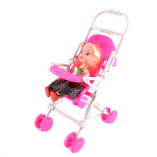 1pcs Pink Baby Stroller Infant Carriage Stroller Doll Accessory Trolley Nursery Toys Furniture For Doll Gifts For Baby Girls(China)