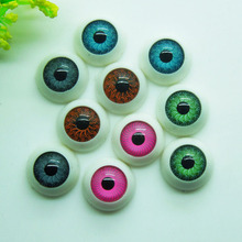 New Arrival 50Pcs (25pairs) 12mm Mix color Half Round Acrylic Plastic Doll Eyes For BJD Dolls Toy Making(China)