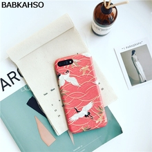BABKAHSO NEW offer! Japanese Crane Case for Apple iPhone 8 8plus 7/7plus Frosted Relief Art Case for iPhone6 6plus Hard(China)