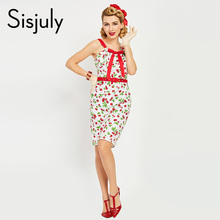 Buy Sisjuly vintage bodycon dress 1950s summer women strap sleeveless retro cherry bowknot sheath office sexy vintage bodycon dress for $12.42 in AliExpress store