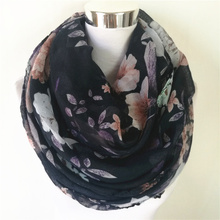 New Flower Loop Scarf Female big flower Print Chevron Ring Scarves Winter Plants Infinity Shawl Wrap hot sale women long scarf(China)